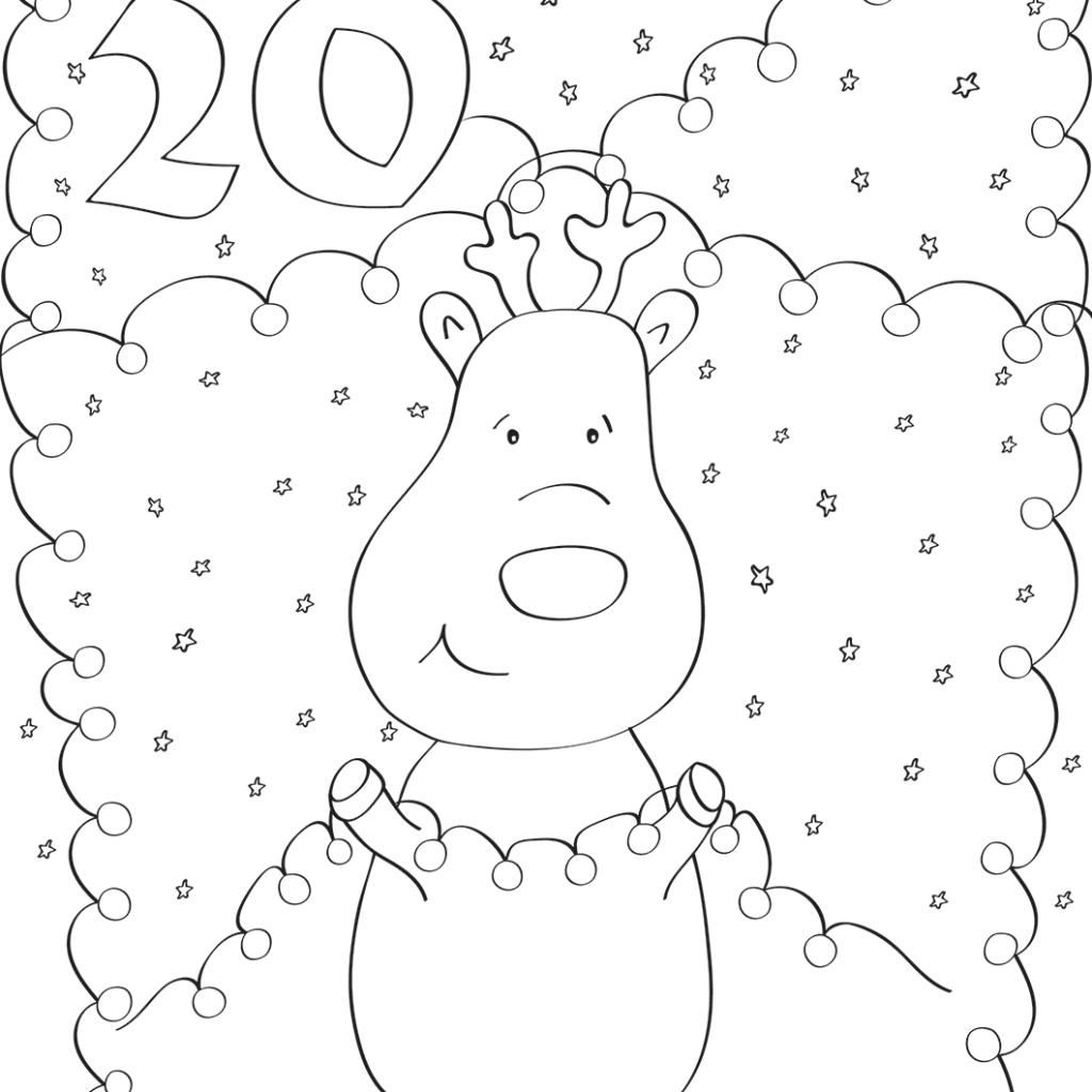 Christmas Deer Coloring Pages With December 20 Page Free Printable