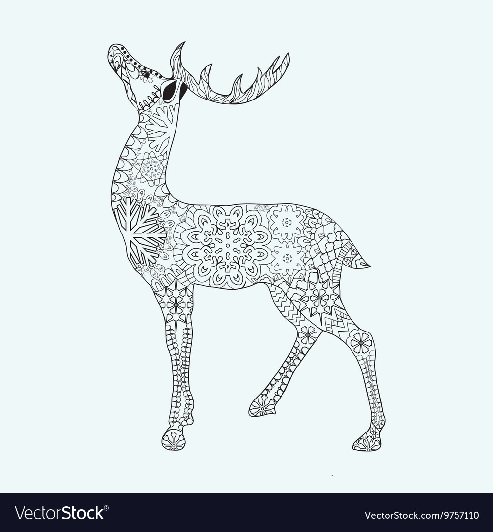 Christmas Deer Coloring Pages With For Adult Anti Stress Page