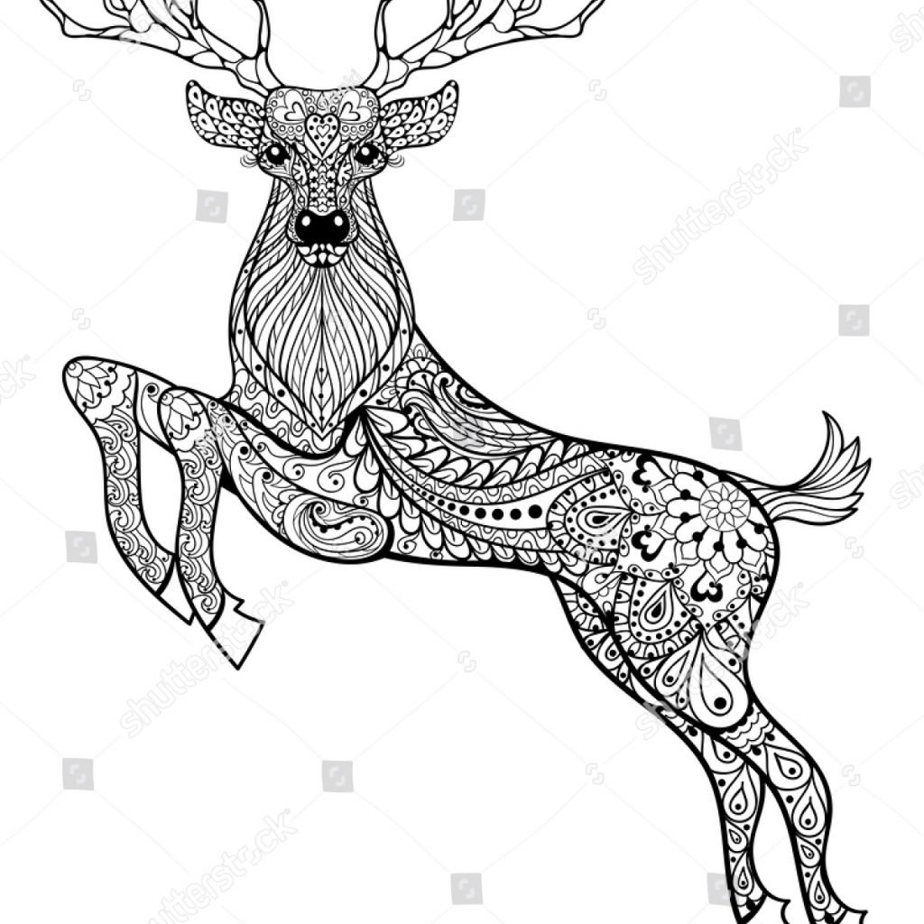 Christmas Deer Coloring Pages With Hand Drawn Magic Horned Stock Vector Royalty Free
