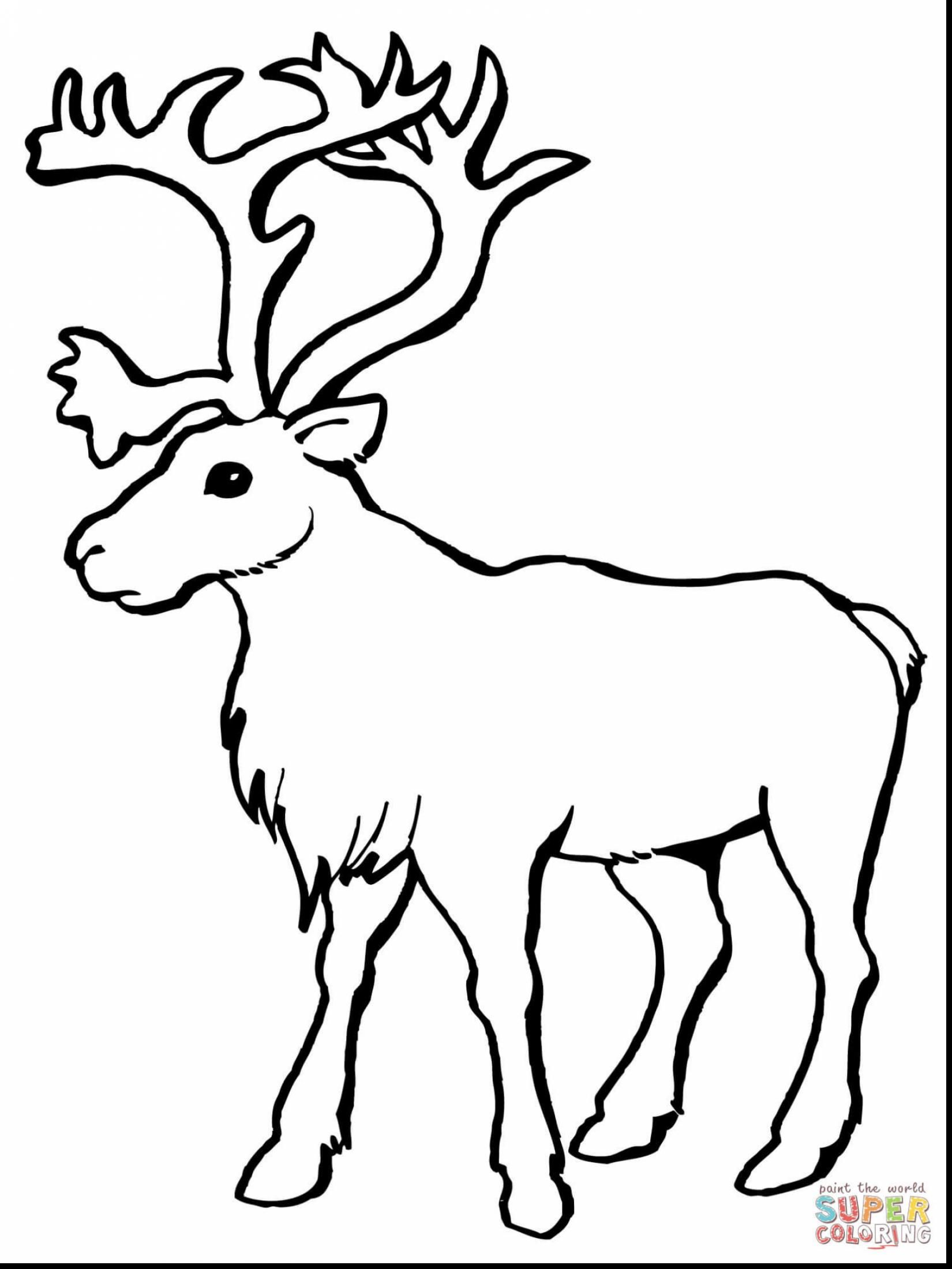 Christmas Deer Coloring Pages With Impressive Reindeer Head Santa And Sleigh