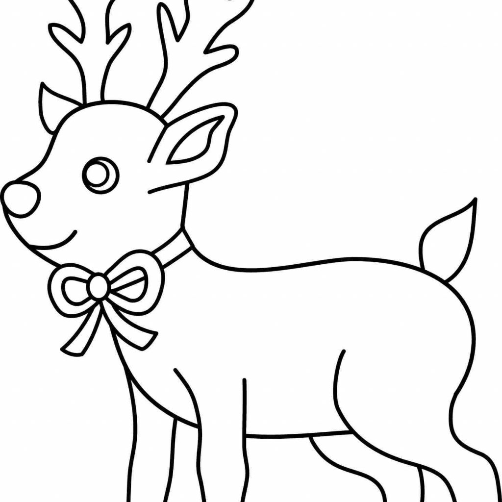 Christmas Deer Coloring Pages With Page Pooh Bear