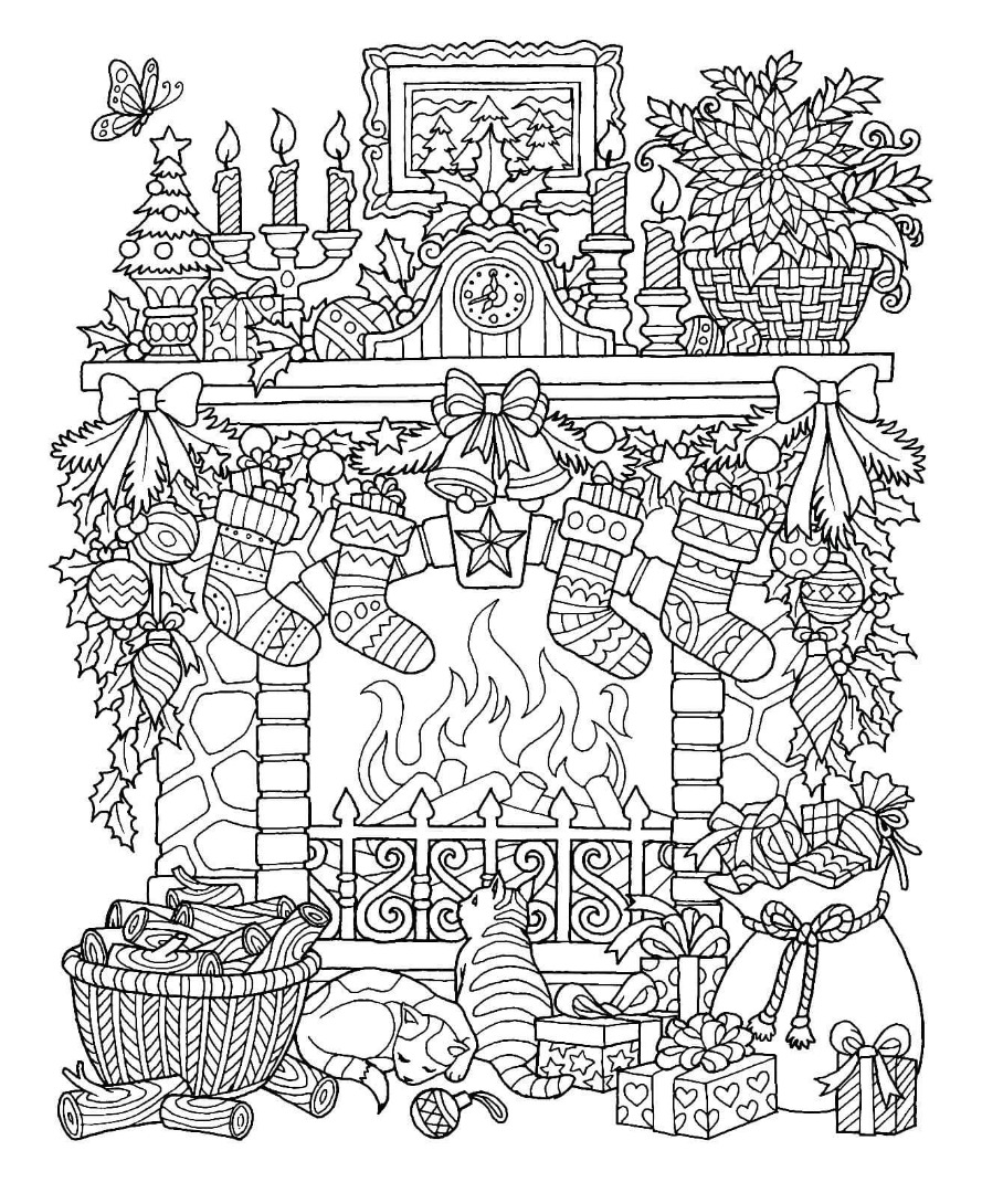 Christmas Detailed Coloring Pages With 12 Free Drawings