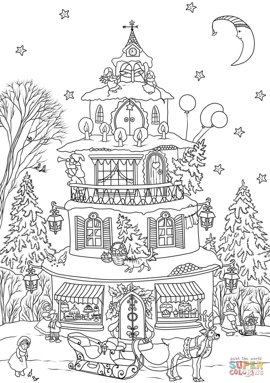 Christmas Detailed Coloring Pages With House Page Free Printable