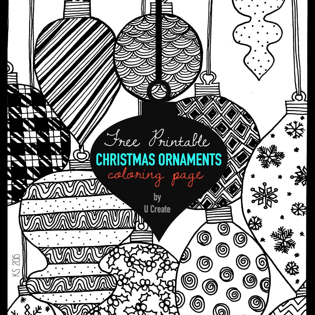 Christmas Detailed Coloring Pages With Ornaments Adult Page U Create