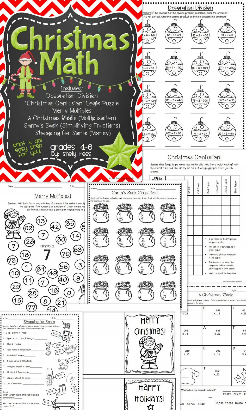Christmas Division Coloring Worksheets With Math Pinterest Simplifying Fractions Fun