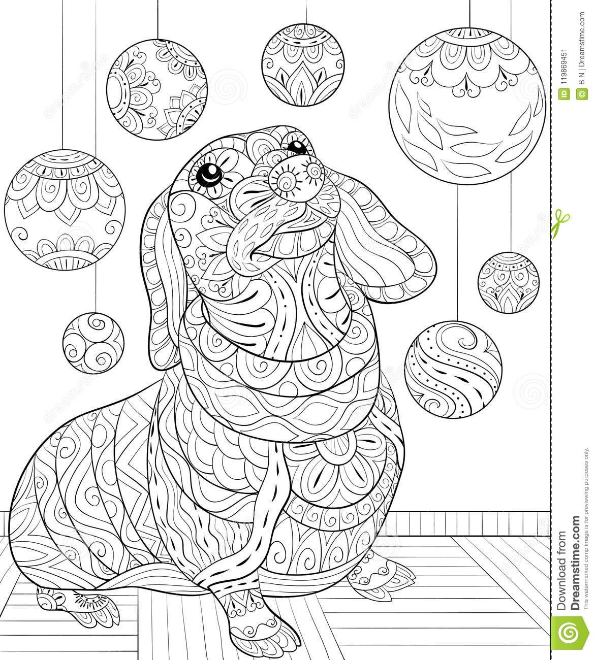 Christmas Dog Coloring Page With Adult Book A On The Background