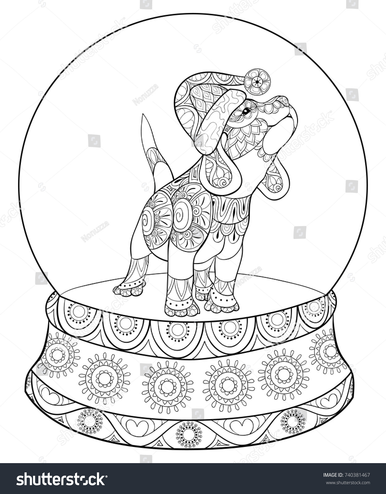 Christmas Dog Coloring Page With Adult Pagebook Cute Puppydog Stock Vector