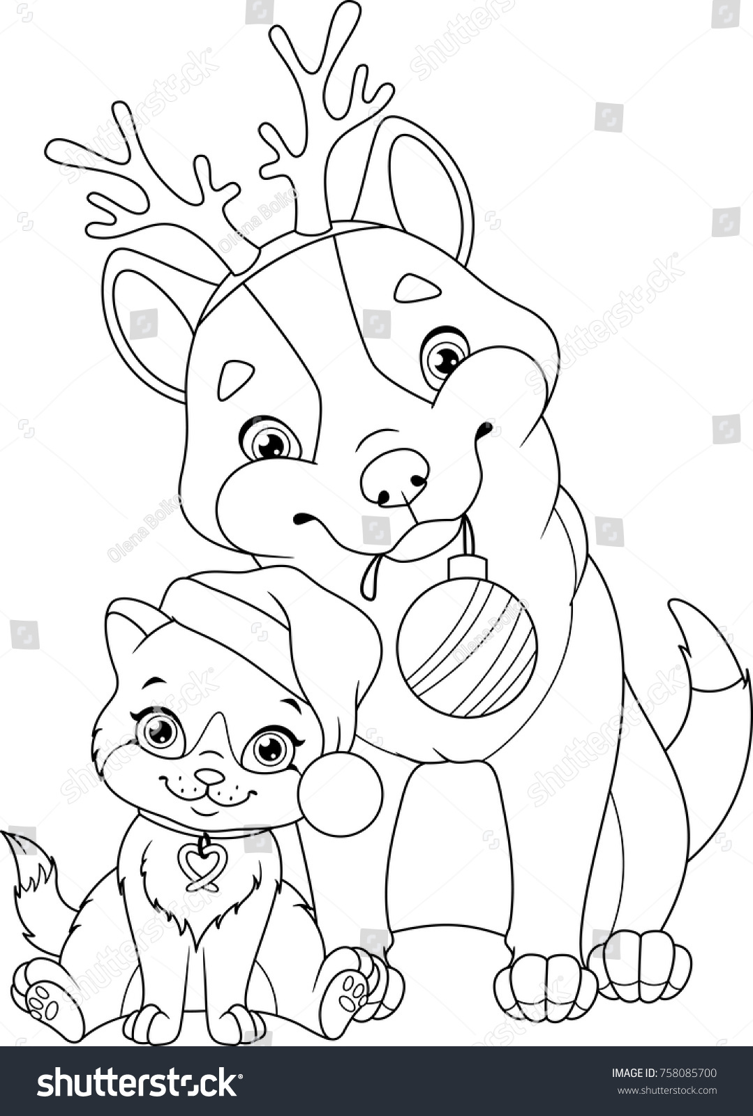 Christmas Dog Coloring Page With Pages