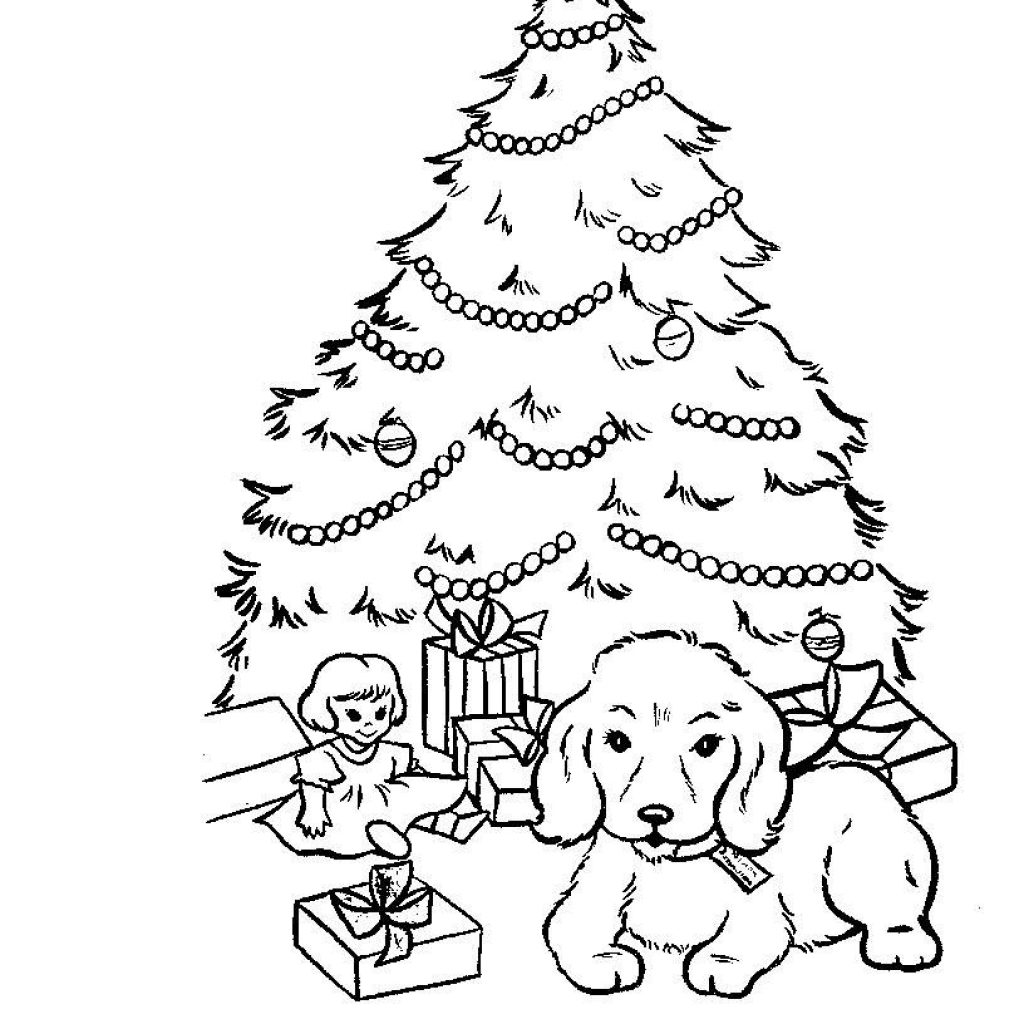 Christmas Dog Printable Coloring Pages With Adult Books Pinterest
