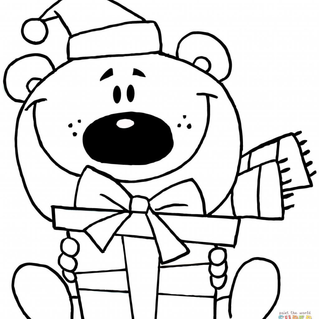Christmas Dog Printable Coloring Pages With Bear Page Free