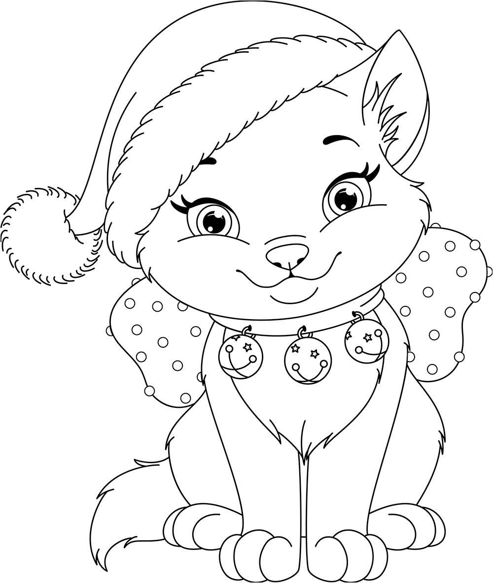 Christmas Dog Printable Coloring Pages With Cat Cool