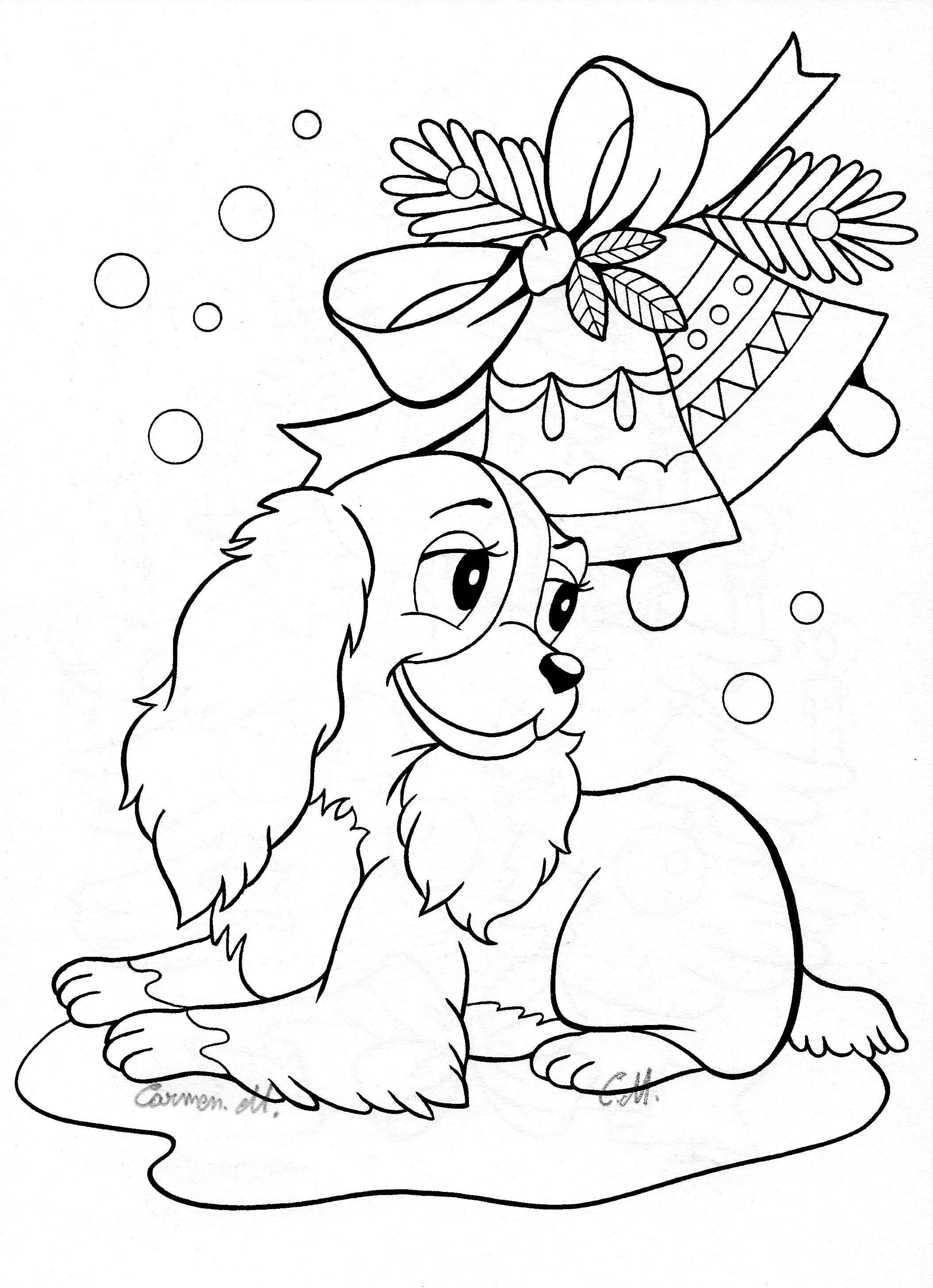 Christmas Dog Printable Coloring Pages With Color Tree