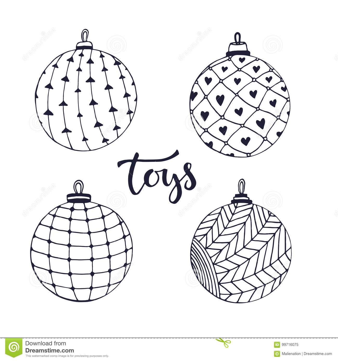Christmas Doodle Coloring Pages With Ball Toys Isolated Set For Page Vector