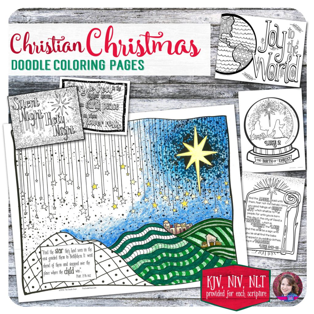 Christmas Doodle Coloring Pages With Christian 6 Designs Heidi Babin