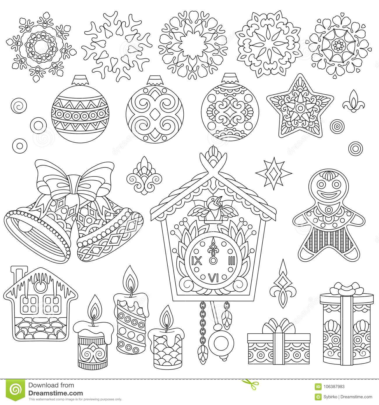 Christmas Doodle Coloring Pages With Doodles And Zentangle Ornaments Stock Vector
