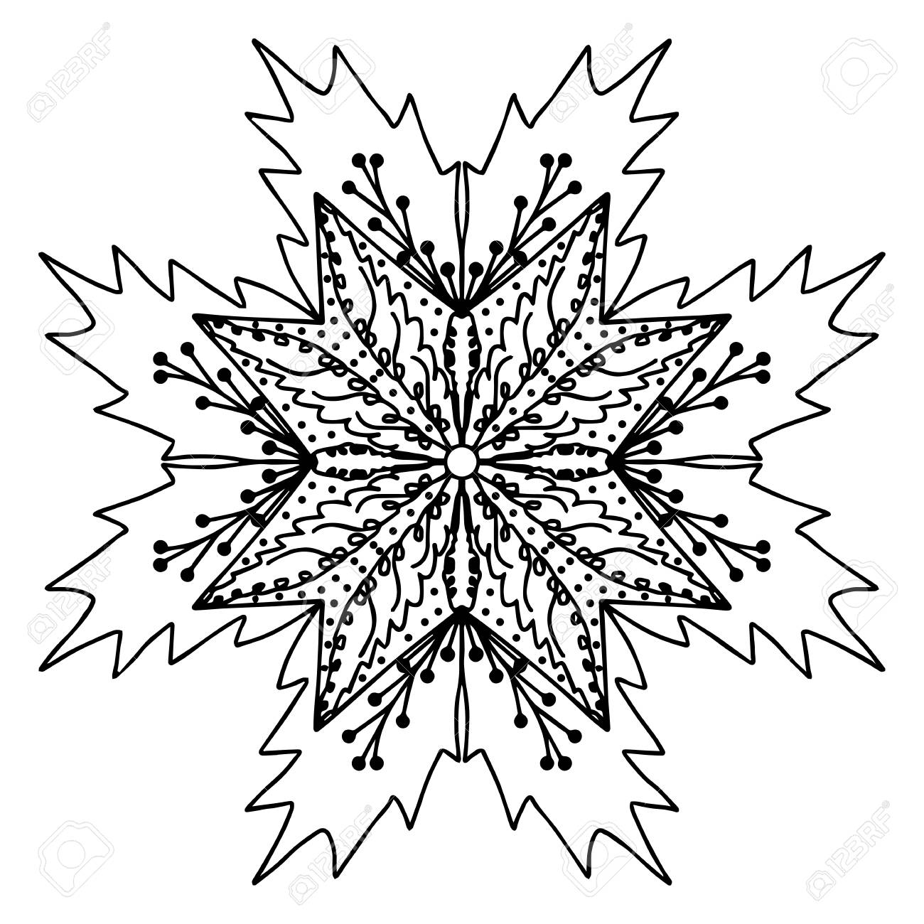 Christmas Doodle Coloring Pages With Holly Hand Drawing Doodling Mandala Page Isolated