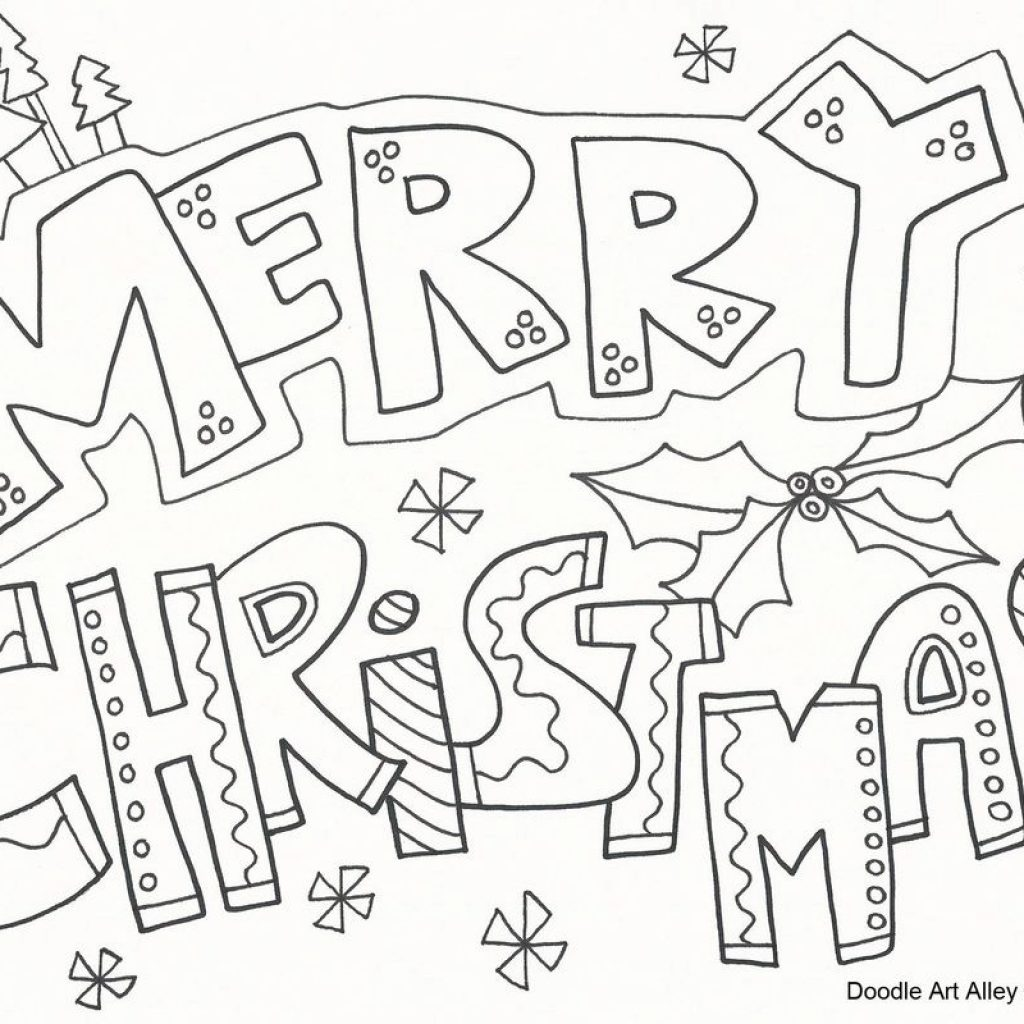 Christmas Doodle Coloring Pages With Merry To Download And Print For Free