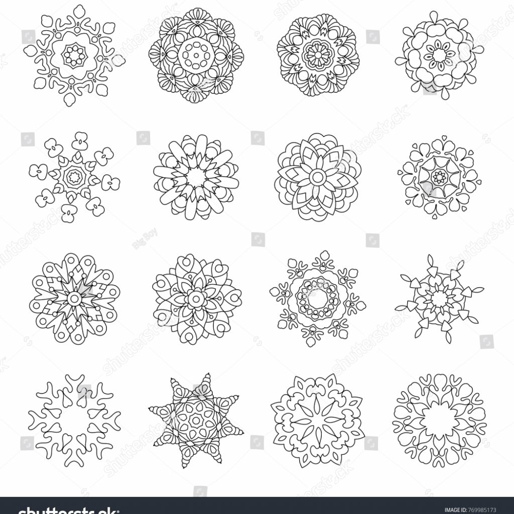 Christmas Doodle Coloring Pages With Set Doodles Snowflakes Fractals Mandala Stock Vector