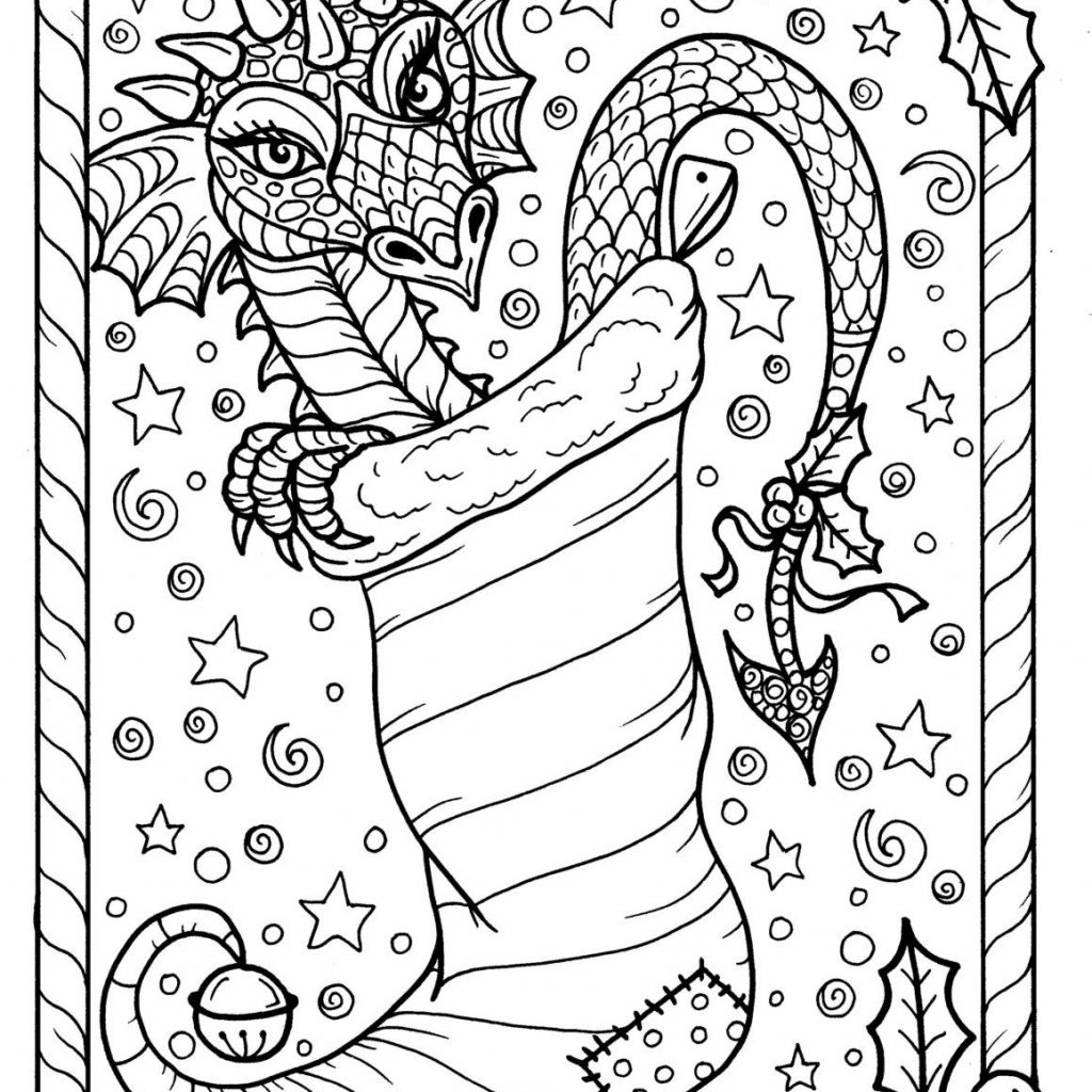 Christmas Dragon Coloring Pages With Page Digital JPG File Adult Color Fantasy