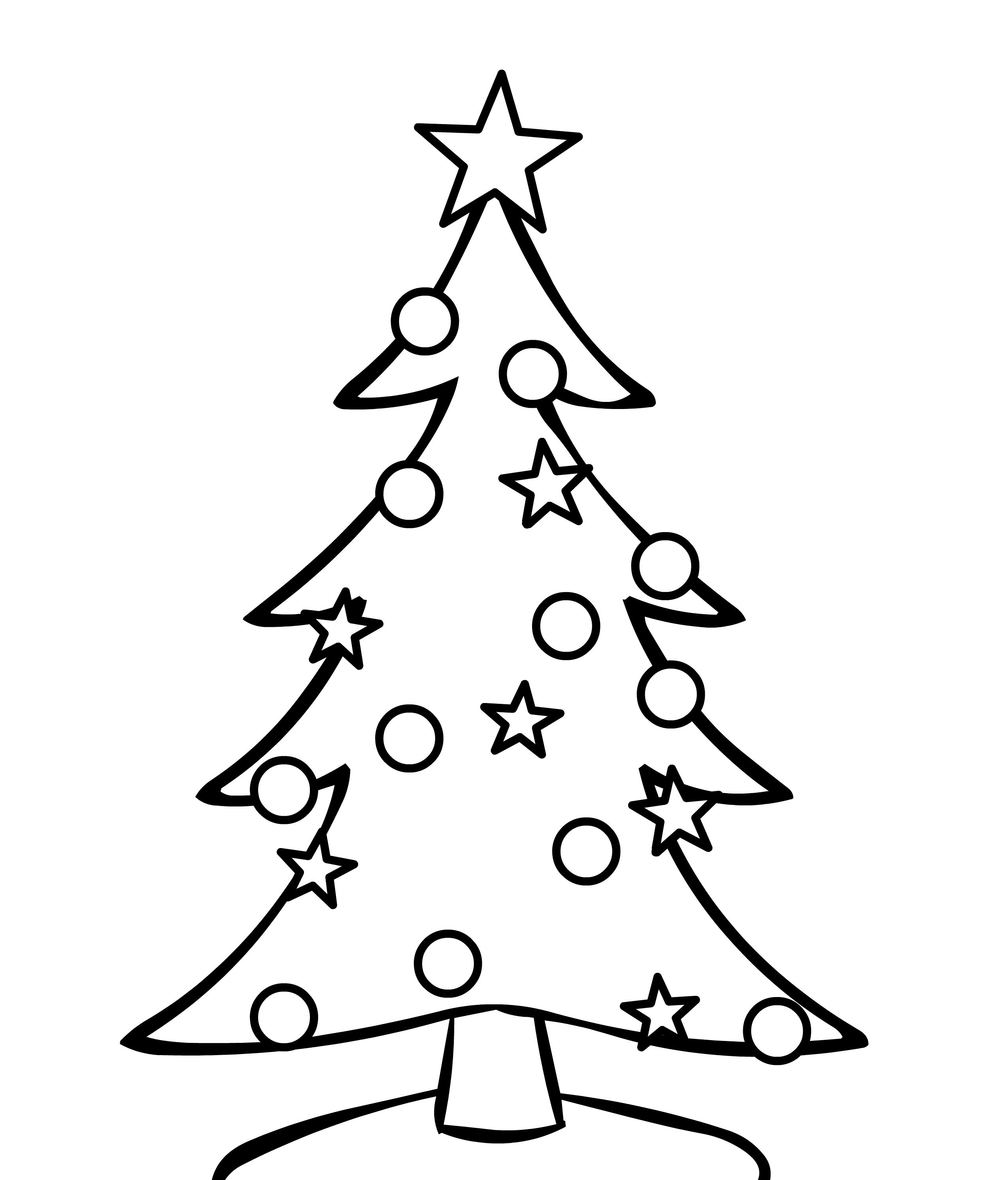 Christmas Easy Coloring Pages With Big Tree Printable Inspirationa