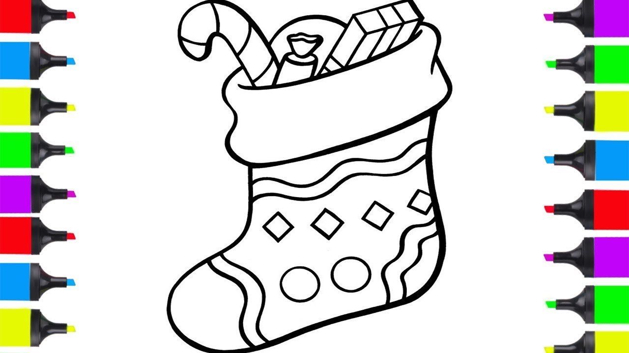 Christmas Easy Coloring Pages With How To Draw Stocking For Kids