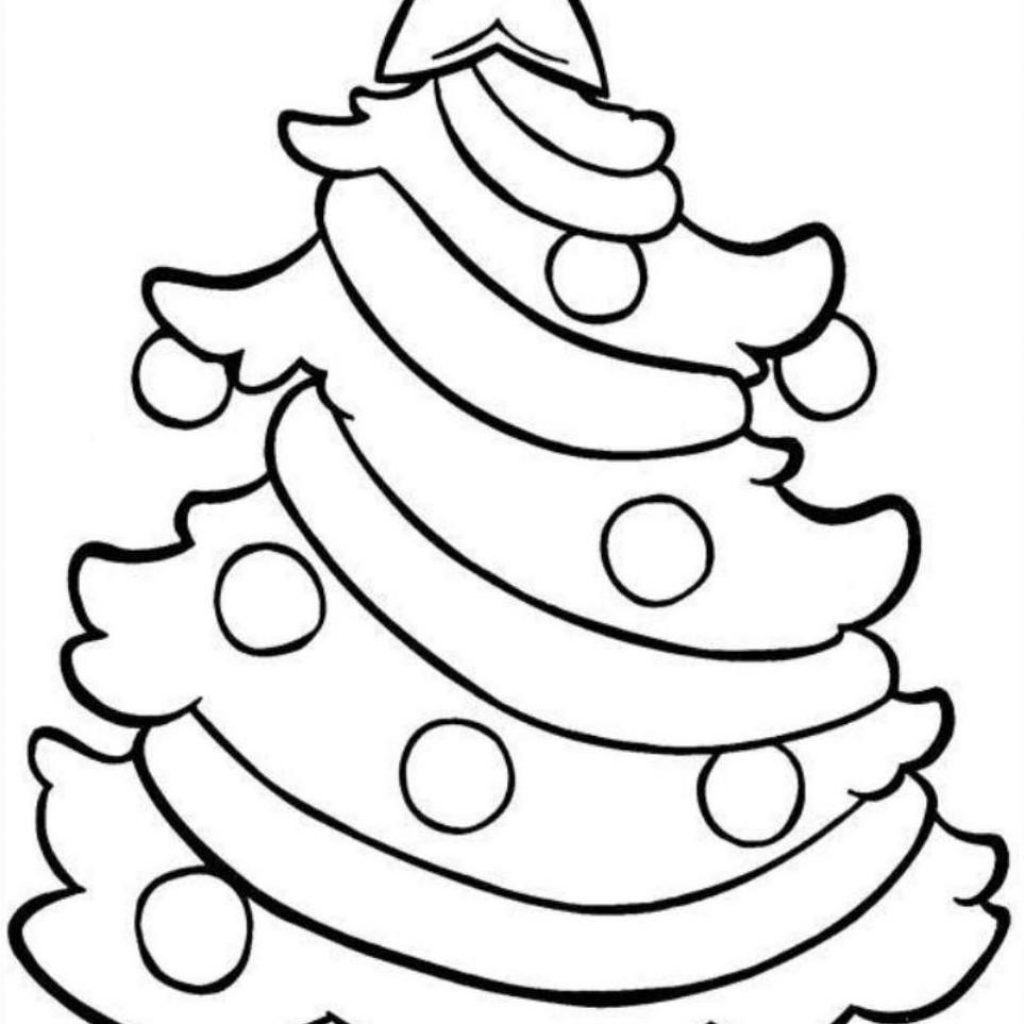 Christmas Easy Coloring Pages With Tree Printable