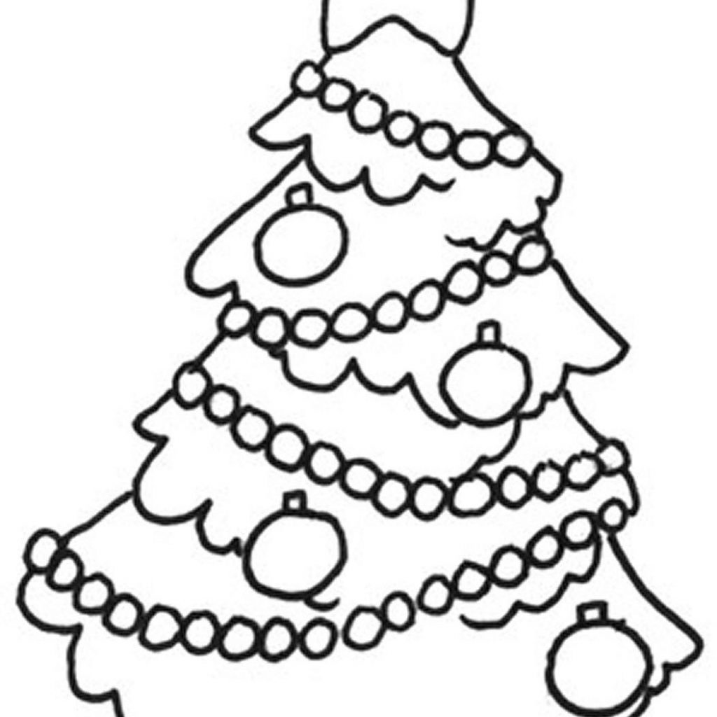 Christmas Easy Coloring Pages With Tree S For Childrenb7ca Printable