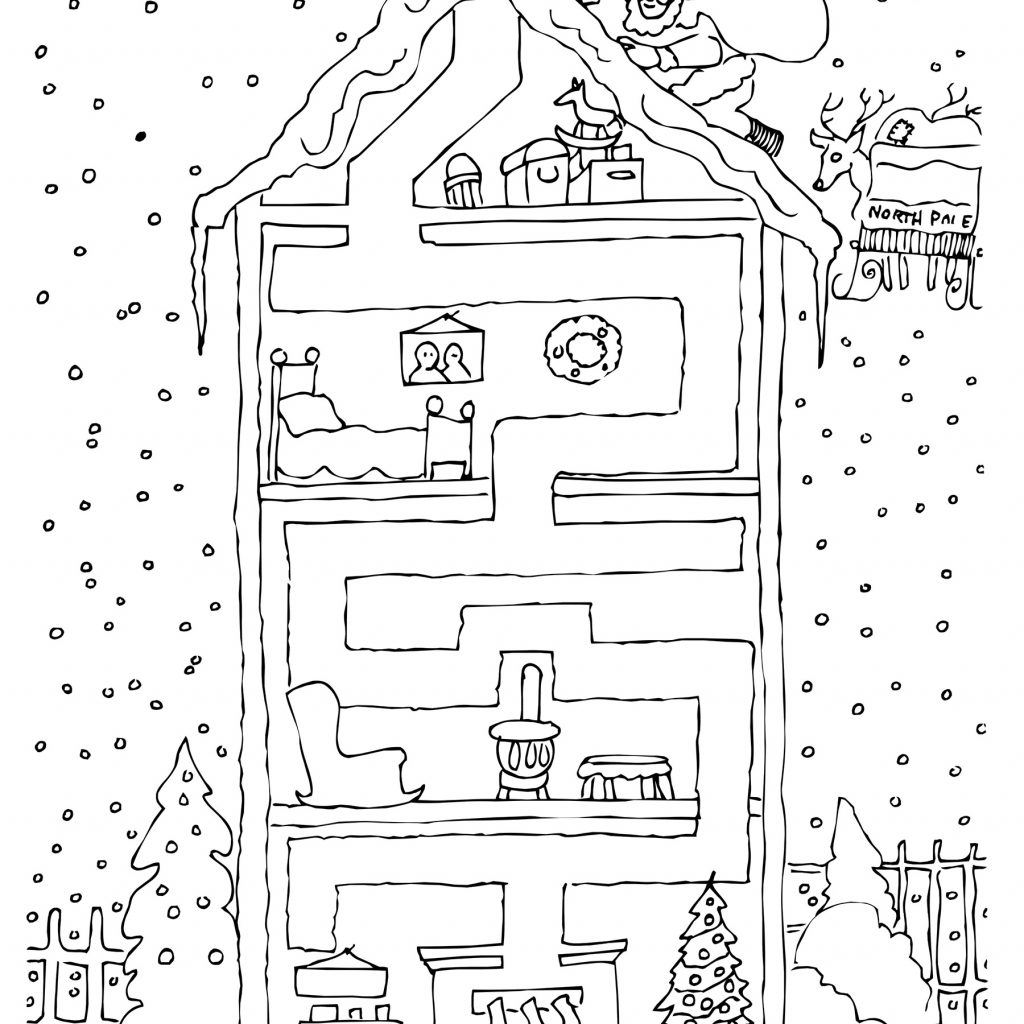 Christmas Educational Coloring Pages With Activity Maze Page Create A Printout Or