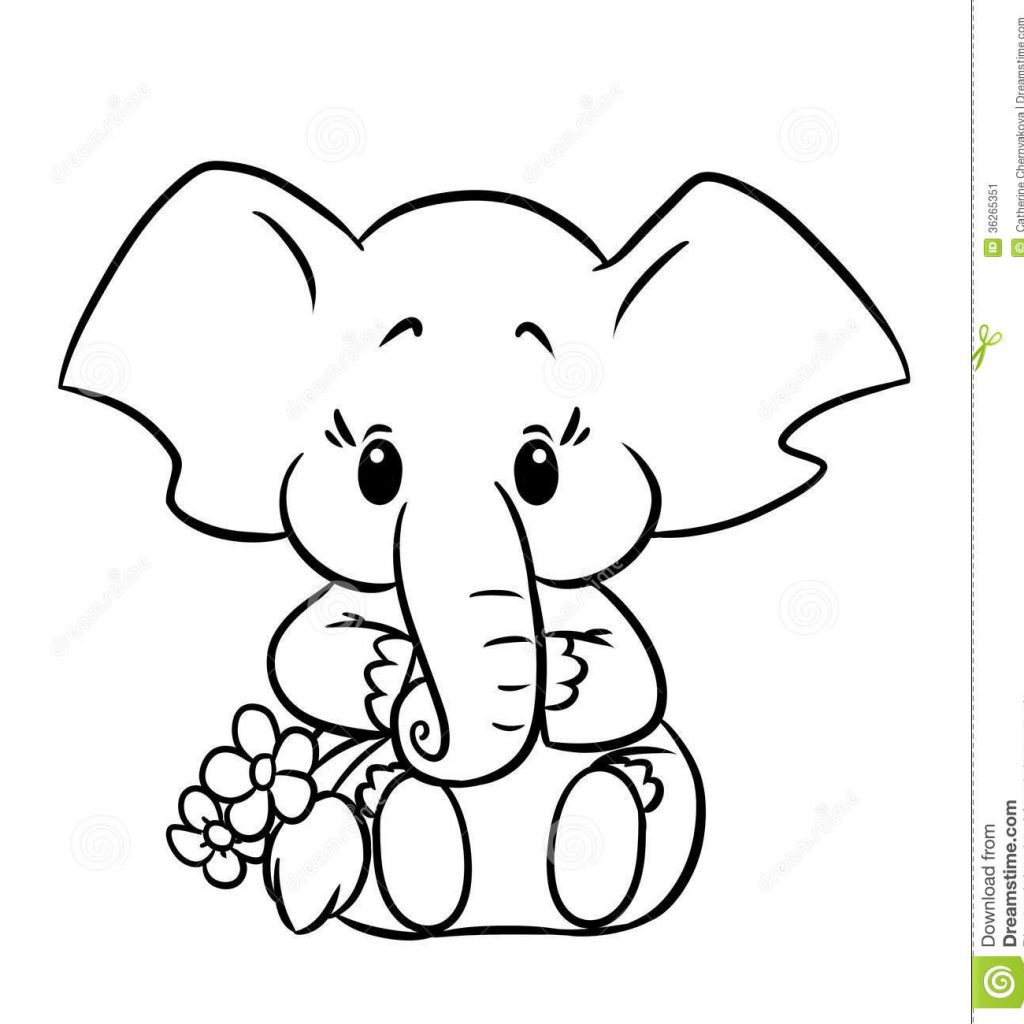Christmas Elephant Coloring Pages With