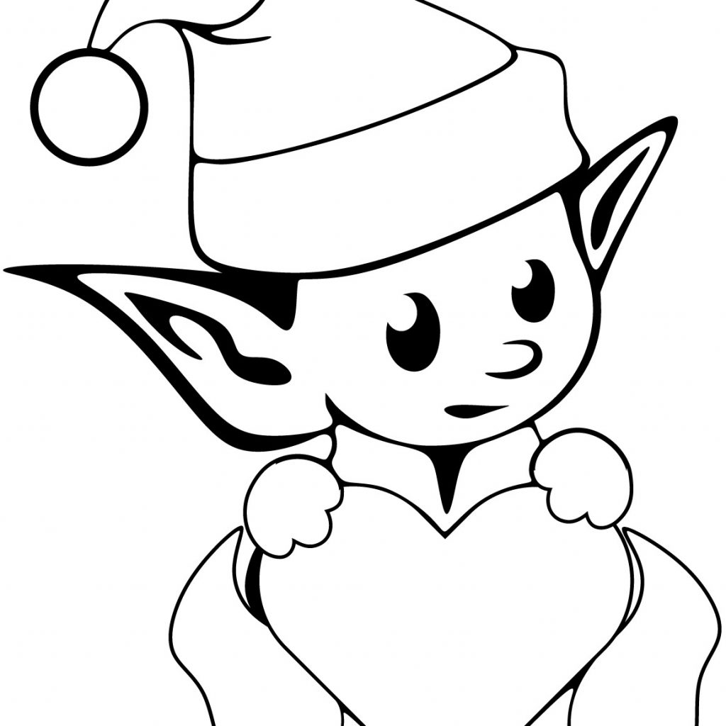 Christmas Elephant Coloring Pages With Elf 25 Printable