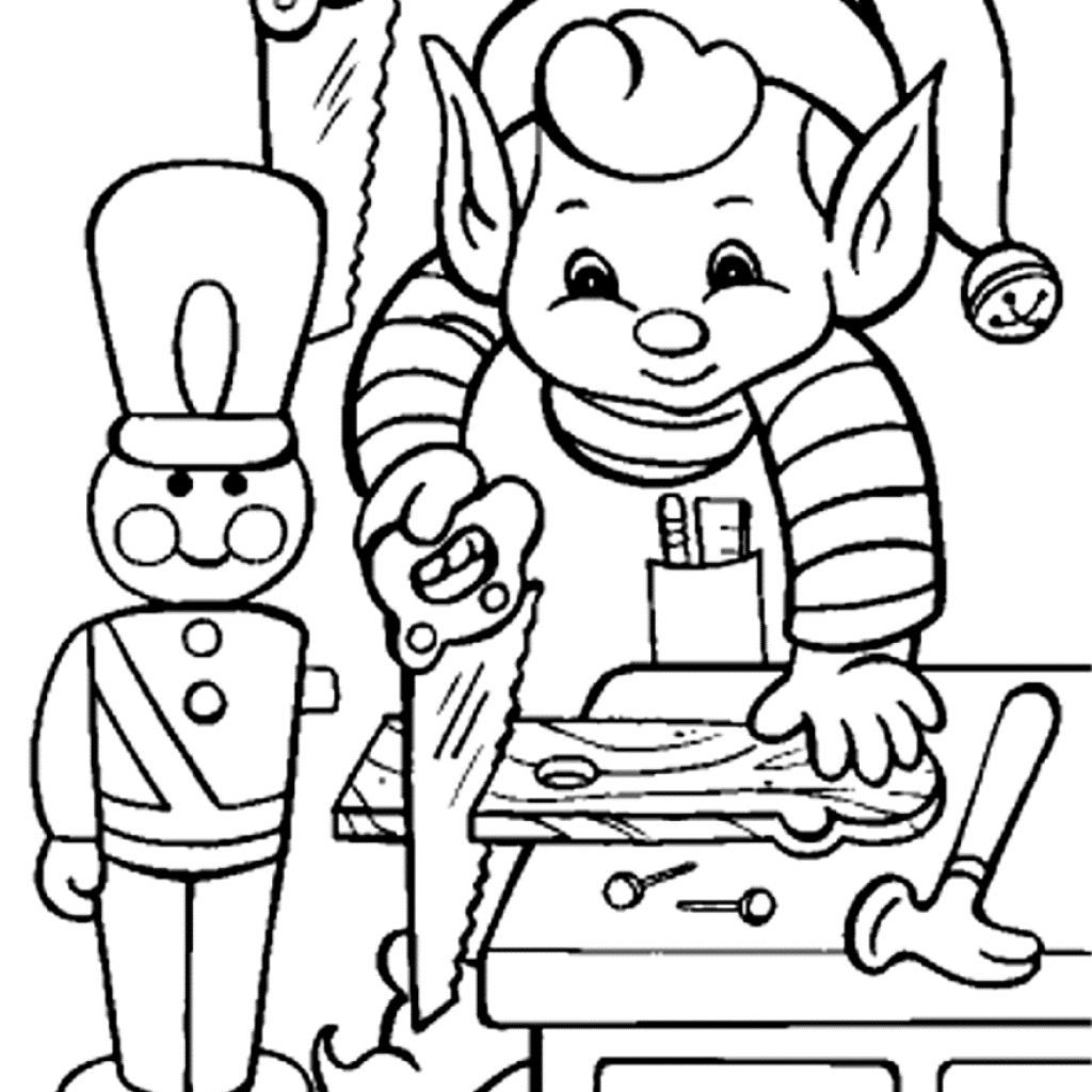 Christmas Elf Coloring Pages For Adults With Awesome Cartoon Design Printable Sheet