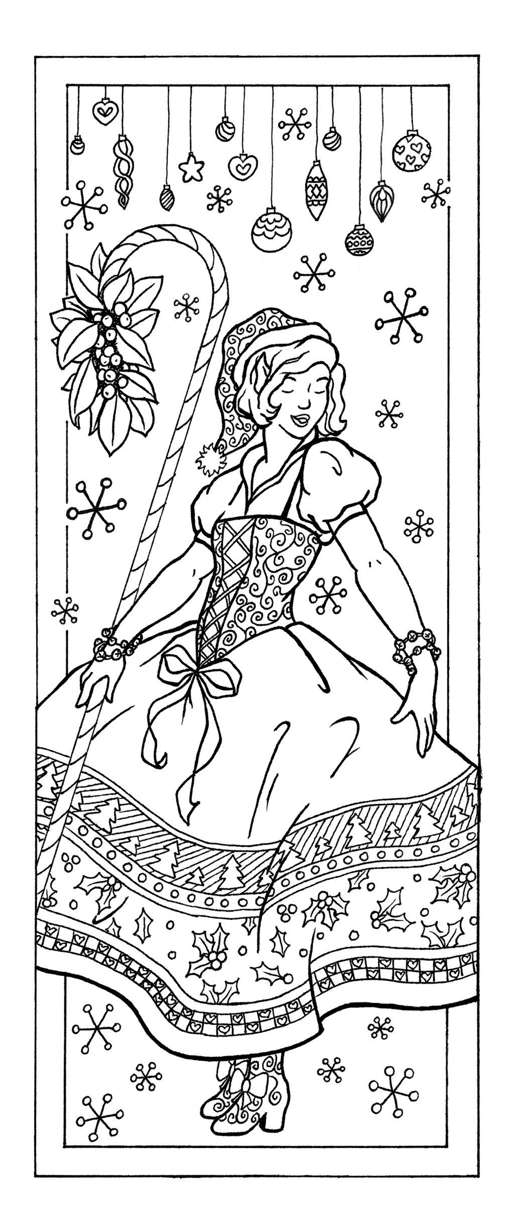 Christmas Elf Coloring Pages For Adults With Page Bookmark Fits One Half Sheet Of Paper