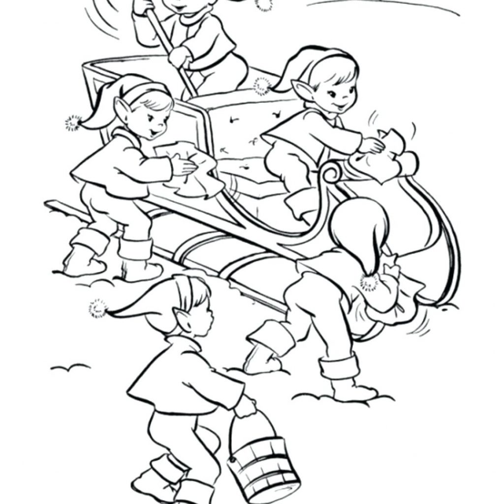 Christmas Elf Coloring Pages Free With Cute Elves