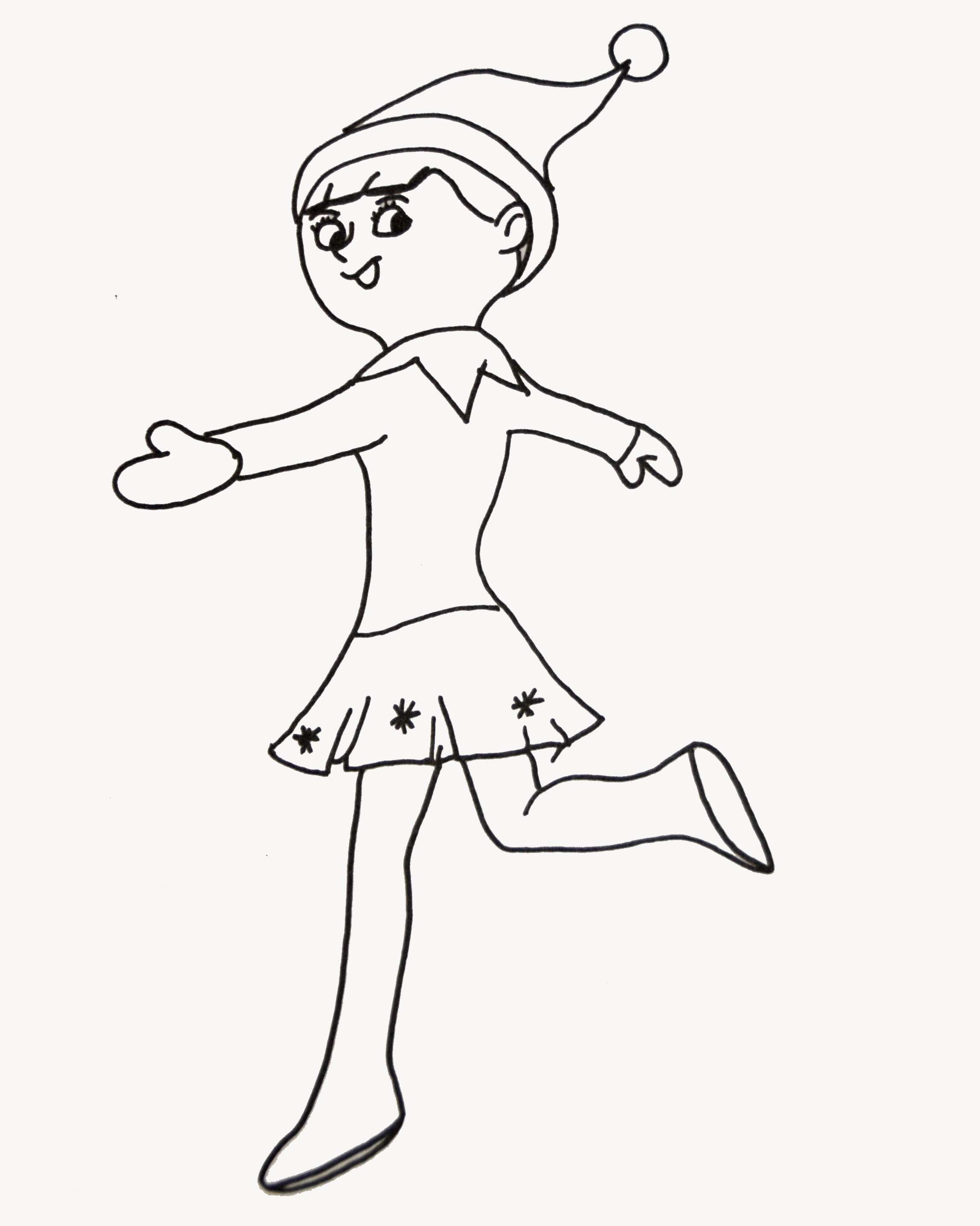 Christmas Elf Coloring Pages Free With Girl Zeenla Co