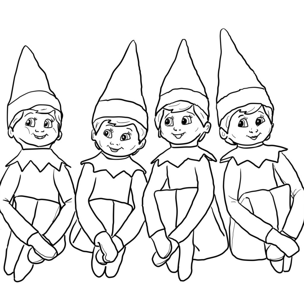Christmas Elf Coloring Pages Free With Printable Books