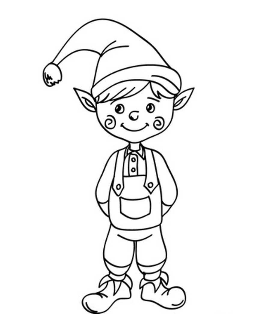 Christmas Elf Coloring Pages Free With Printable For Kids