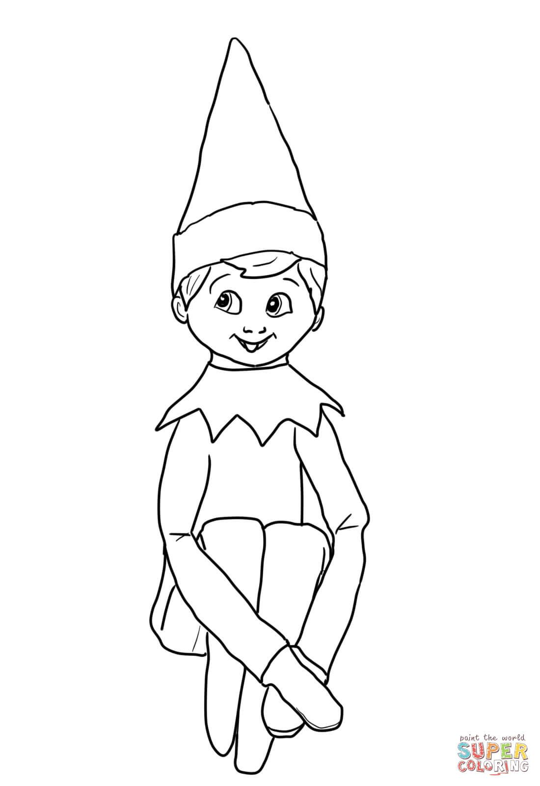 Christmas Elf Coloring Pages Free With These Printable Santa Elves Also Trees