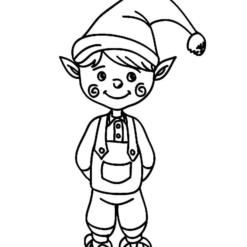 Christmas Elf Coloring Pages Printable With Bright Idea Linkcity 018