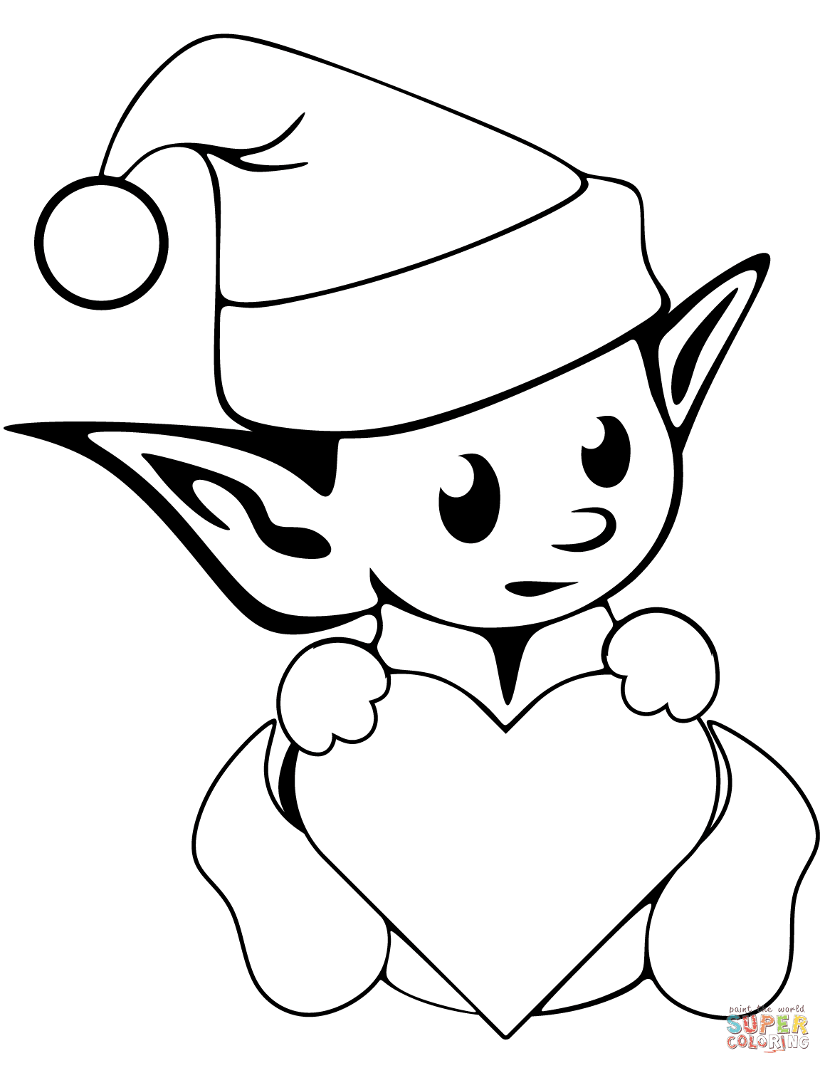 Christmas Elf Coloring Pages Printable With Cute Page Free