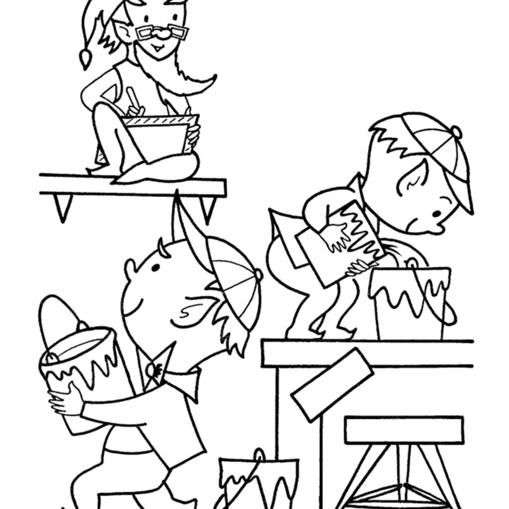 Christmas Elf Coloring Pages Printable With Elves To Print New Hard Worker