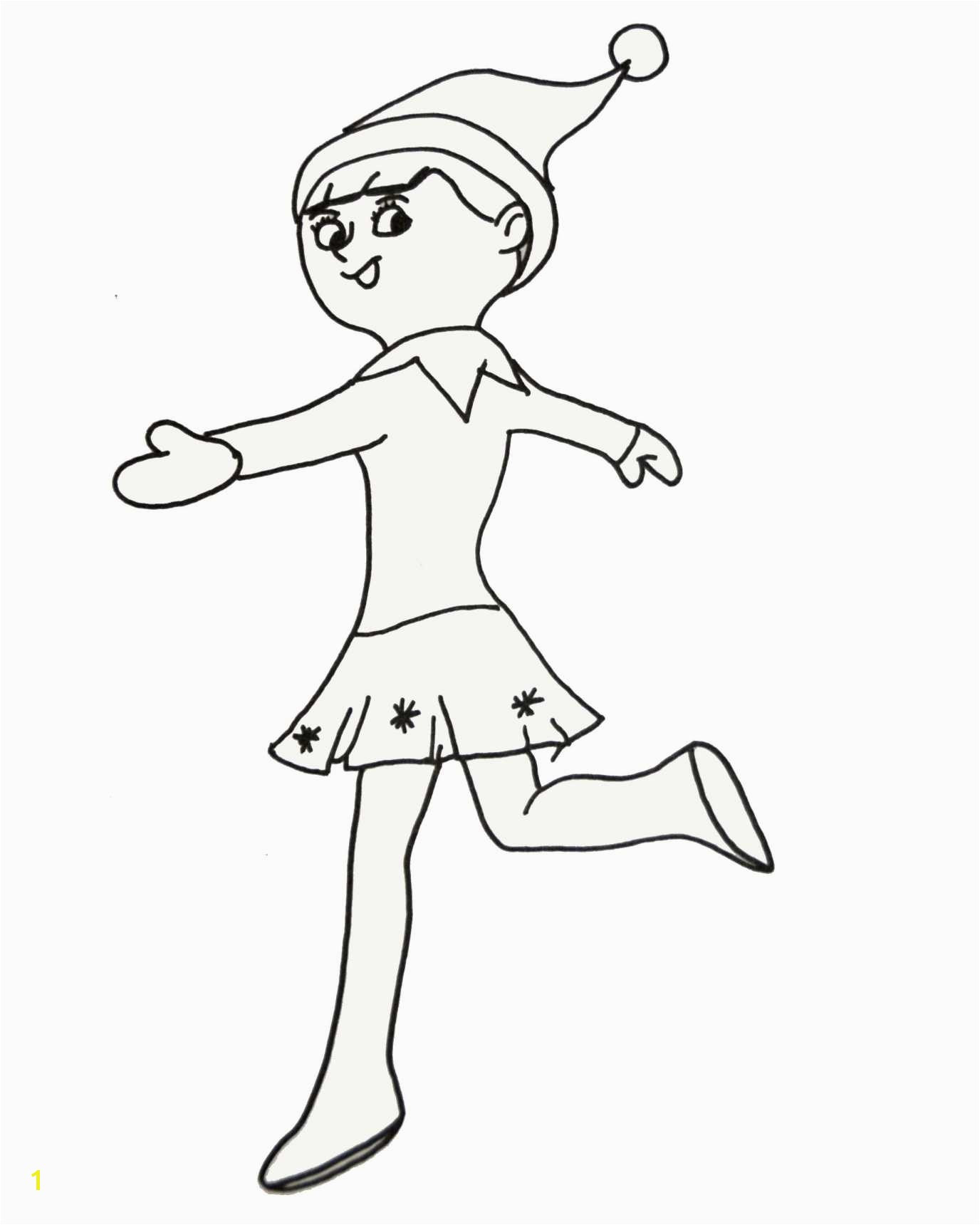 Christmas Elf Coloring Pages Printable With Elves
