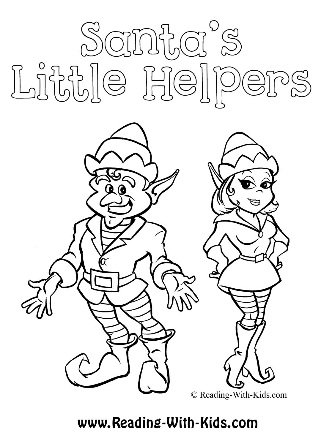 Christmas Elf Coloring Pages Printable With Free Download And On The