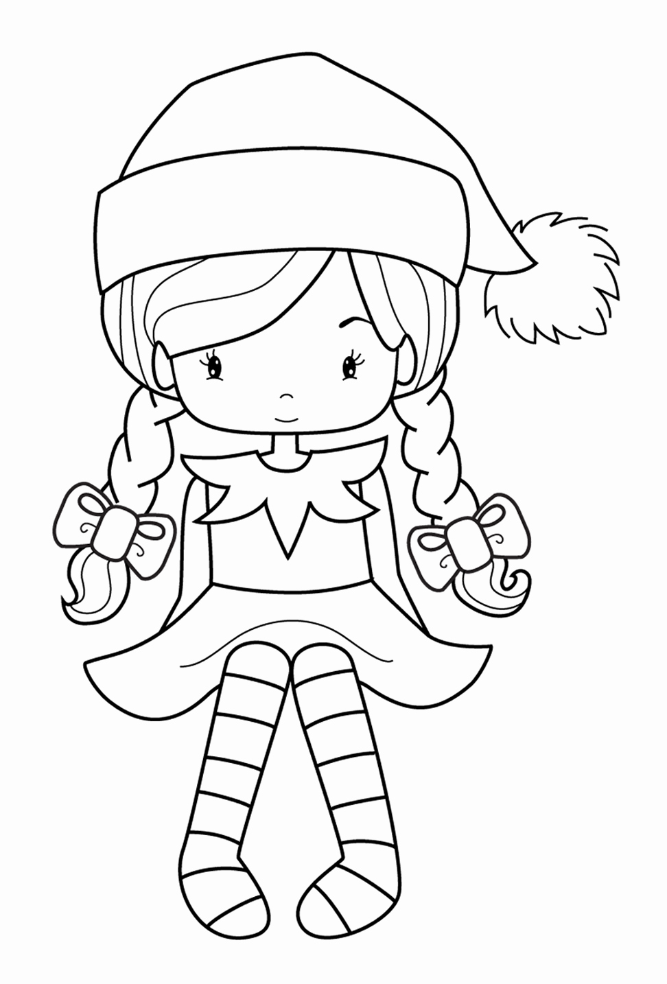 Christmas Elf Coloring Pages Printable With Last Minute Pictures Cool