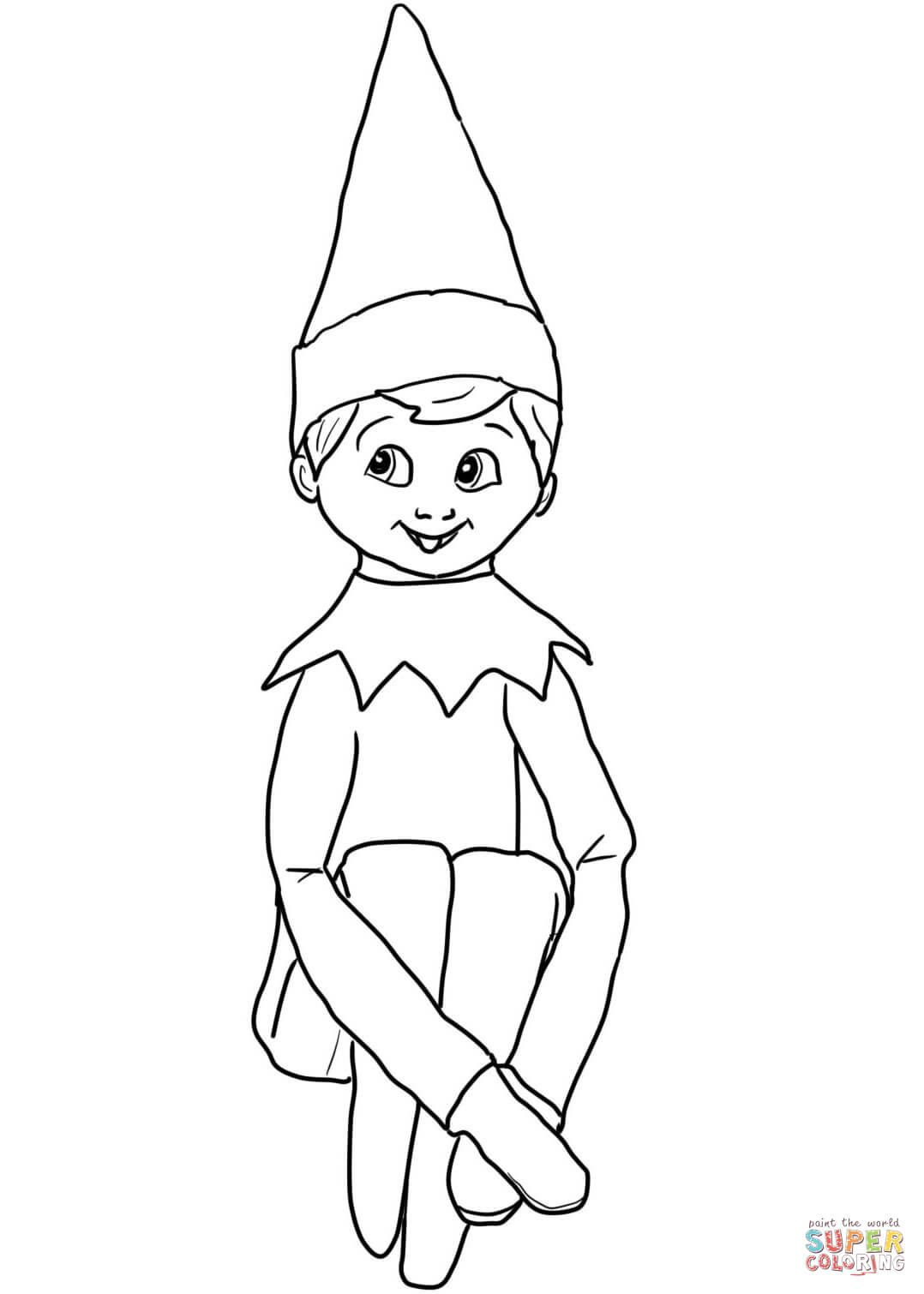 Christmas Elf Coloring Pages Printable With On Shelf Page Free