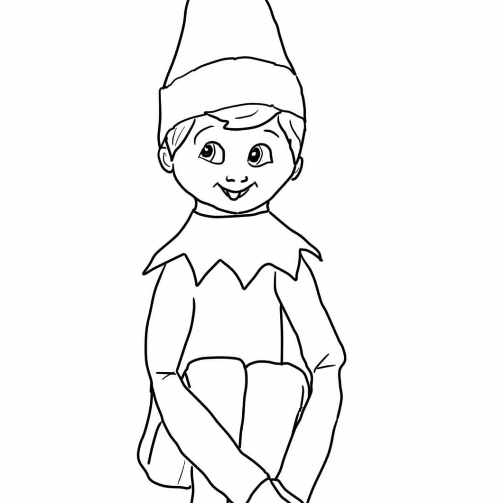 Christmas Elf Coloring Pictures With On Shelf Page Free Printable Pages