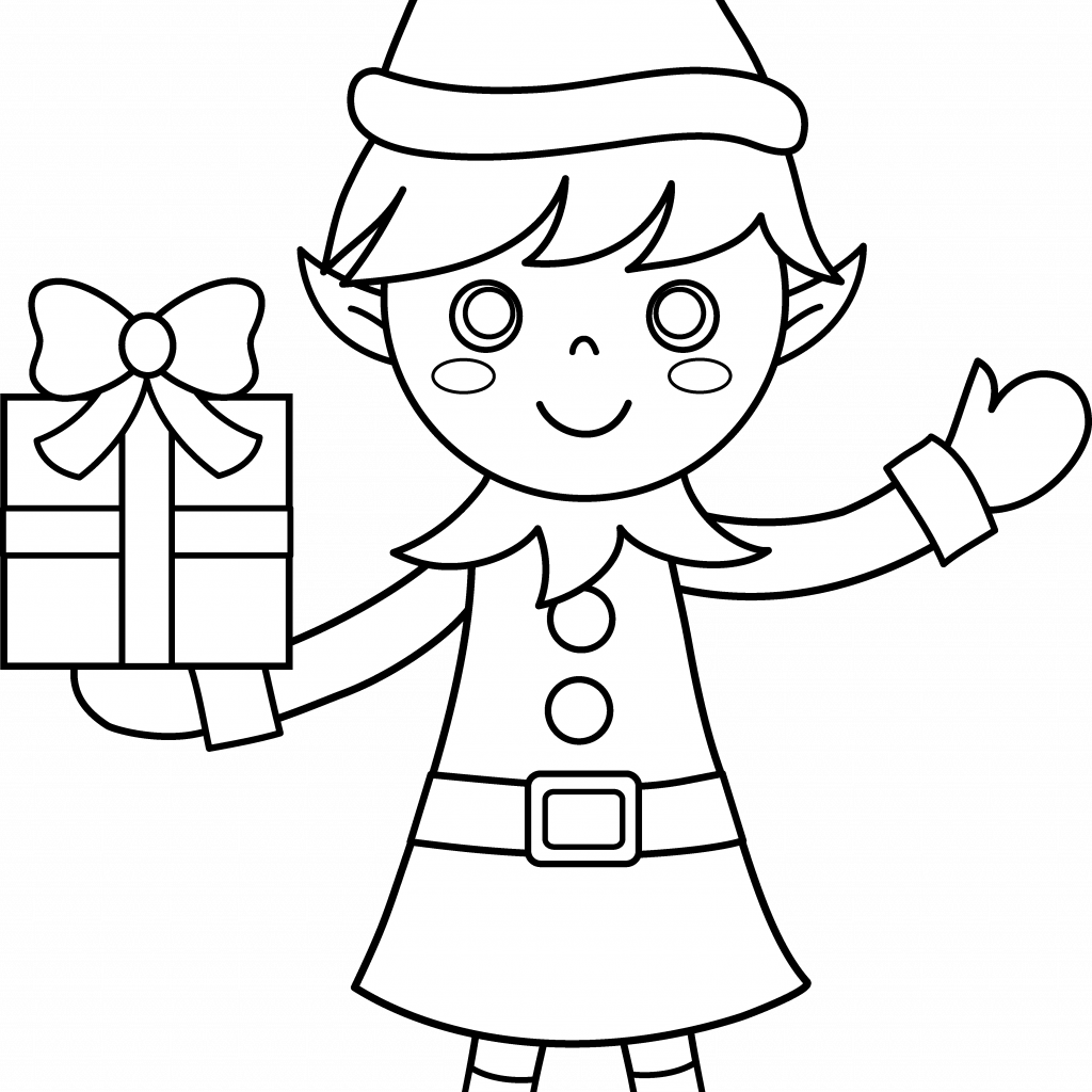 Christmas Elf Coloring Pictures With Page Clipart Sweet Clip Art