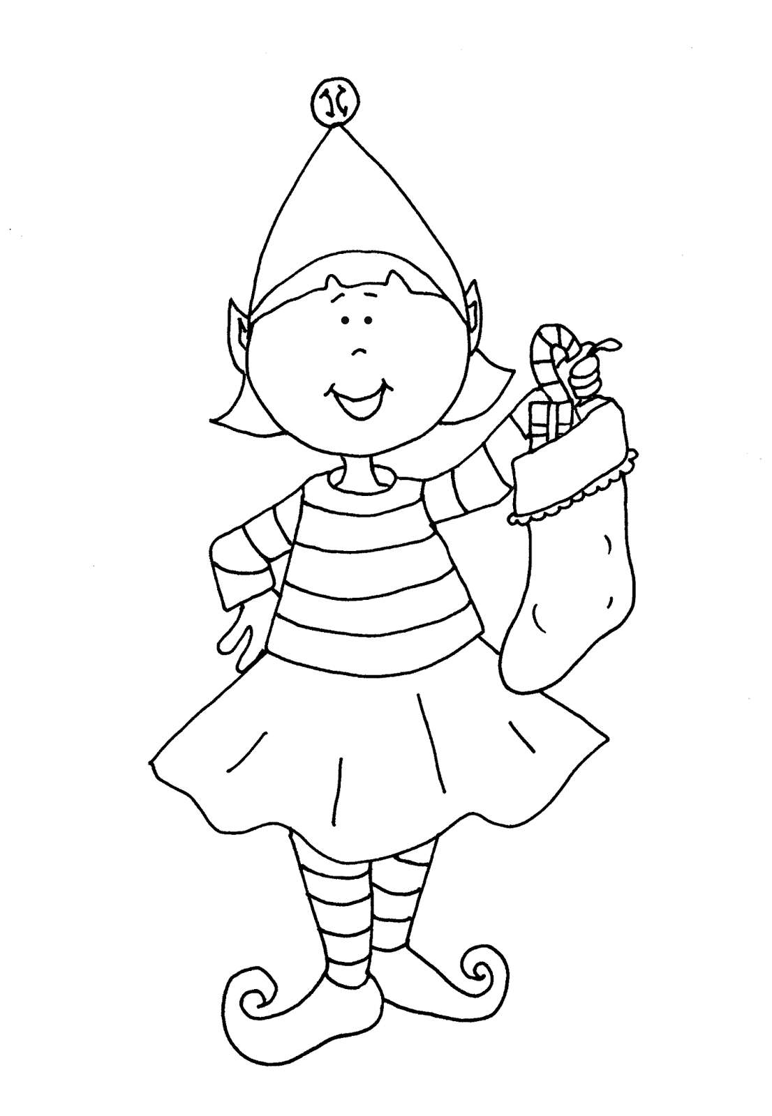 Christmas Elf Coloring Pictures With Pages Free Download Book