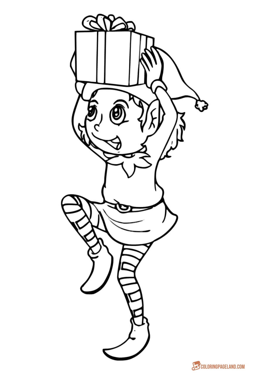 Christmas Elf Coloring Pictures With Pages Incredible Free Printable Collection