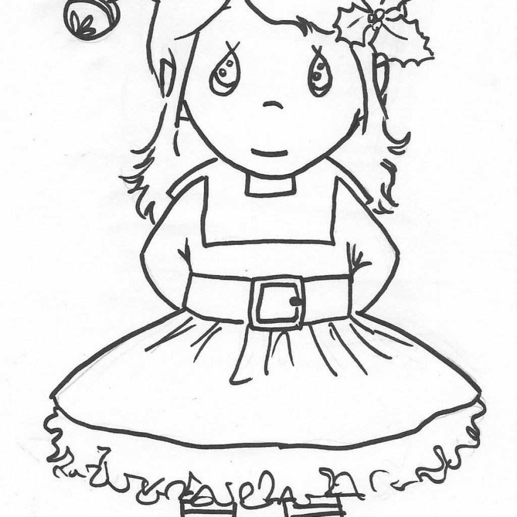 Christmas Elf Coloring Pictures With Precious Moments Girl Page Pinterest