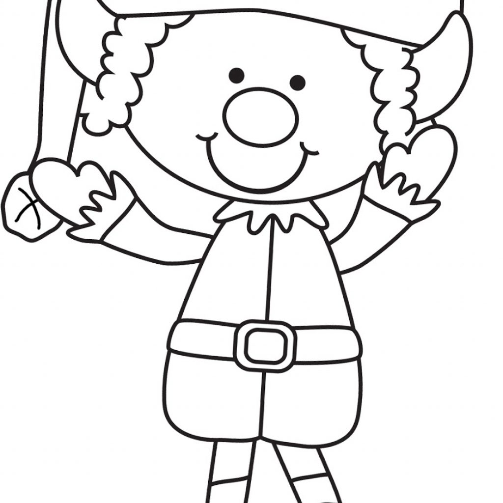 Christmas Elves Coloring Pages Printable With 28 Collection Of Elf Clipart Black And White High